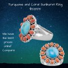 Coral and Sunburst Sterling Silver Ring