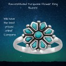 Sterling silver 12 mm reconstituted turquoise flower ring.  .925 Sterling Silver