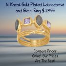 Labradorite and Glass Ring 14 Karat Gold Plated in Sterling Silver Best Prices online!