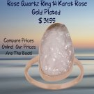 Rose gold plated sterling silver ring rough cut rose quartz stone.  Best Prices online!