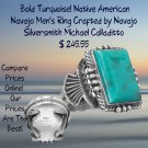 Bold Turquoise! Native American Navajo Men's Ring Sterling Silver Best Prices online!  COMPARE
