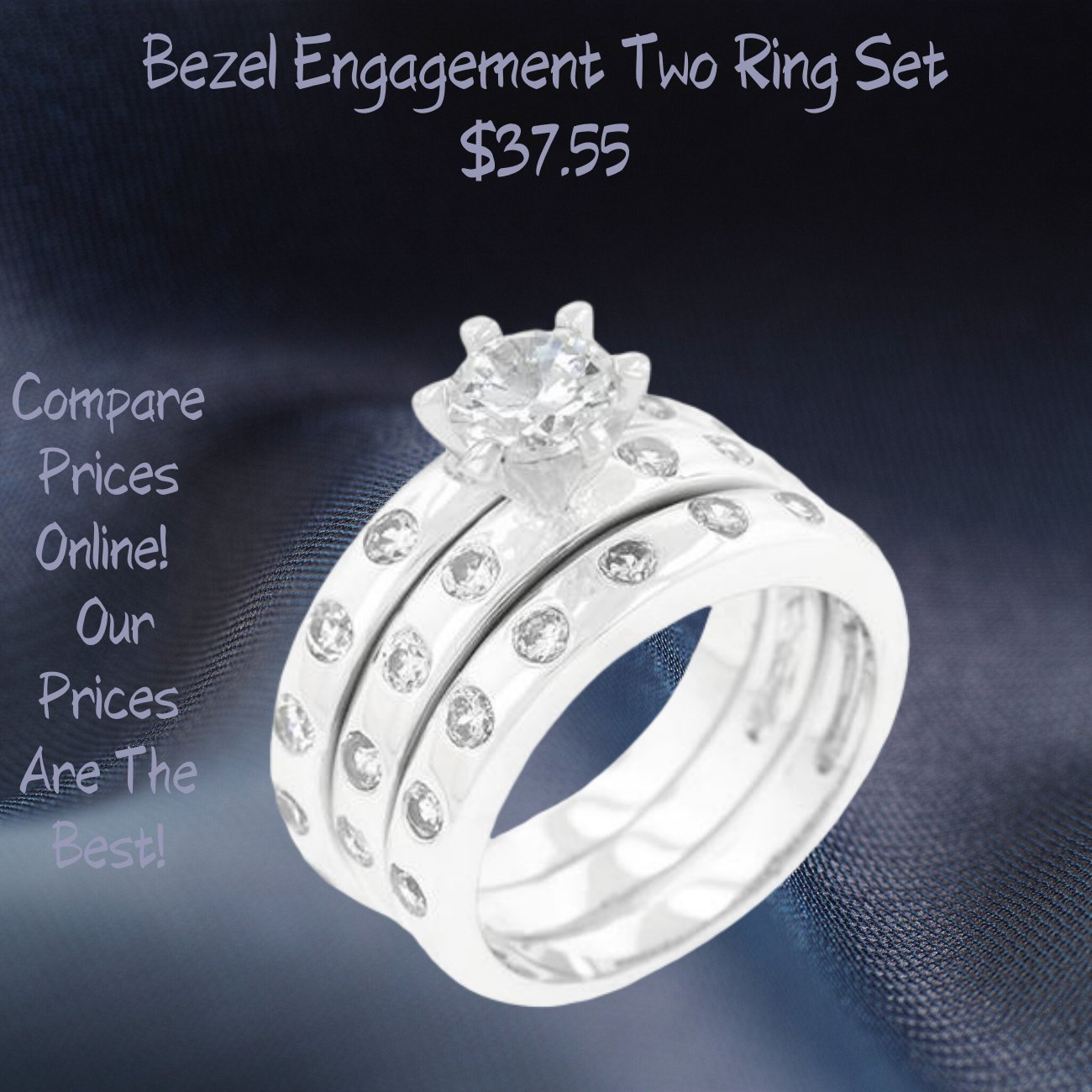 Bezel Set Engagement Ring Set 2 Ring Set