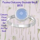 Faceted Chalcedony Stackable Ring Sterling Silver