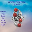 Floral Design Dyed Red Coral Ring Sterling Silver