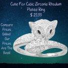 Rhodium Plated Cute Fox Cubic Zirconia Ring