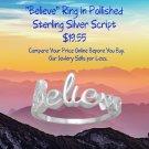 Believe Ring in Polished Sterling Silver Script