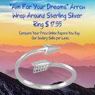 """Aim For Your Dreams"""" Arrow Wrap Around Sterling Silver Ring Best Prices online!"""