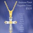 Goldtone Finish Baguette Cross