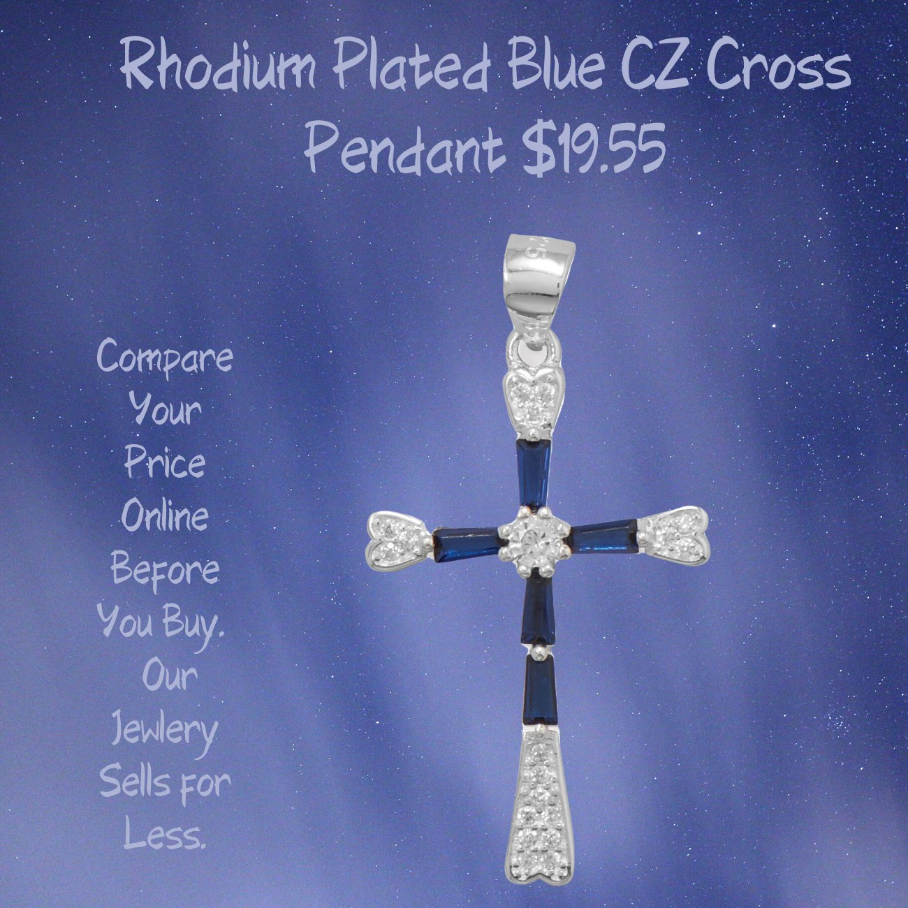 Cross Rhodium Plated Blue Cubic Zirconia Pendant Sterling Silver
