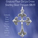 Cross Fleur-De-Lis Pendant Sterling Silver Oxidized