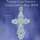 Ornate Oxidized Sterling Silver Reconstituted Turquoise Cross Pendant
