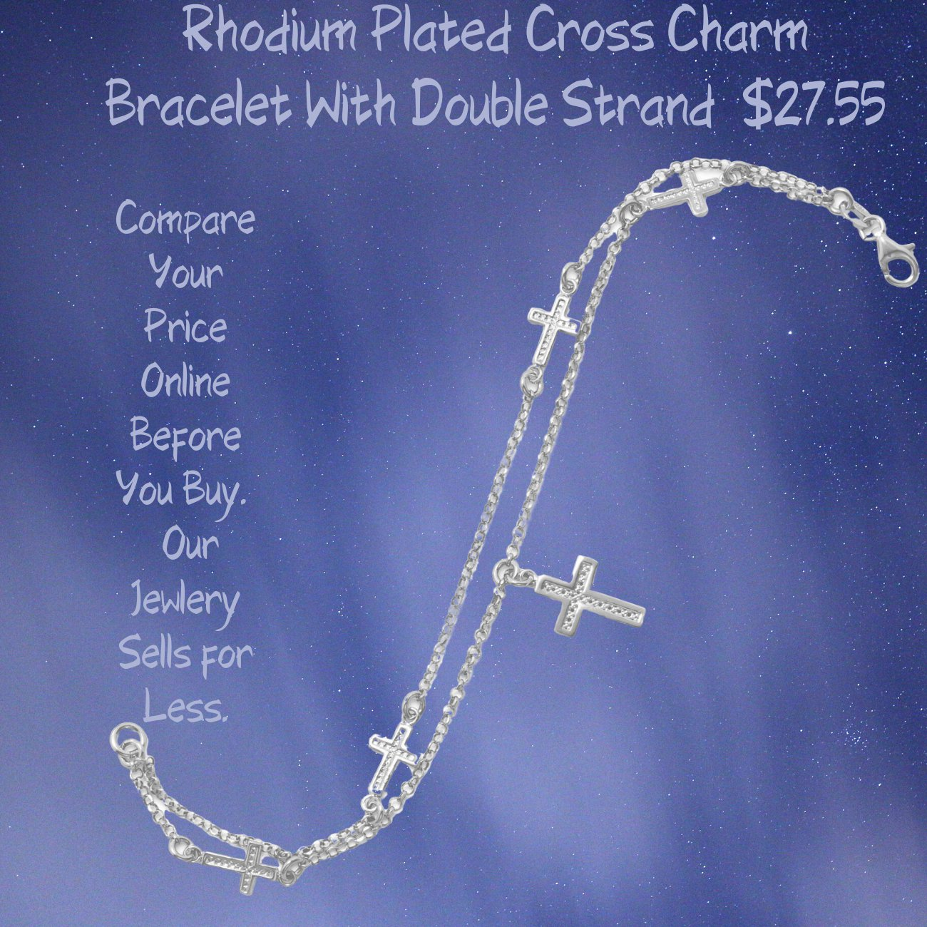 Rhodium Plated Sterling Silver Double Strand Cross Charm Bracelet Made In Italy!