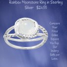 Criss Cross Band Rainbow Moonstone Ring in Sterling Silver Check Prices online We have the best!