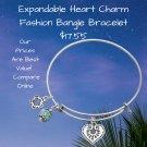 Expandable Heart Charm Fashion Bangle Bracelet Sterling Silver Engraved