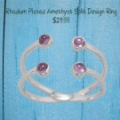 Rhodium Plated Amethyst Split Design Ring sizes 6-9.