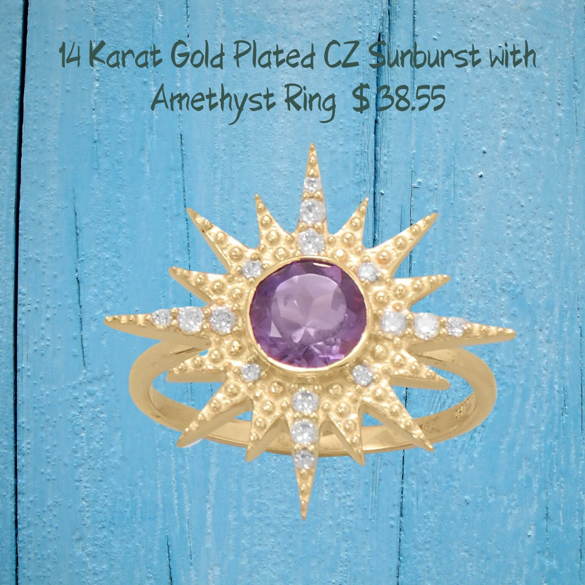 Sterling Silver 14 Karat Gold Plated CZ Sunburst with Amethyst Ring Size 5 to -9