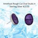 Sterling Silver Amethyst Stud Earrings- Calming Effect