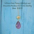"""32"""" 14 Karat Gold Plated Amethyst and Amazonite Necklace Stainless Steel"""