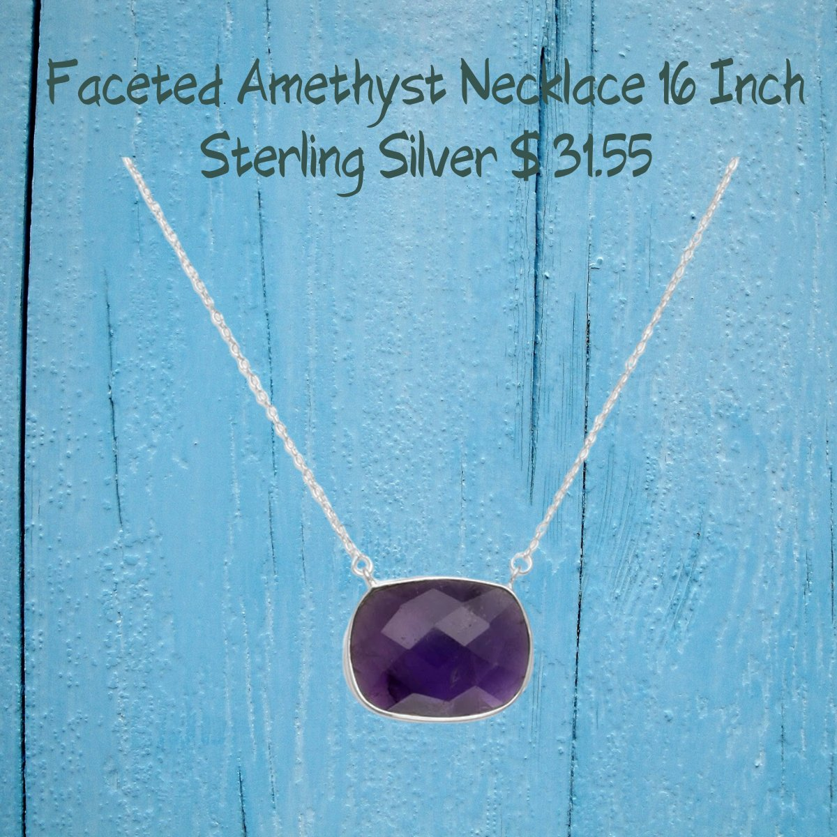 """Amethyst 16"""" Faceted Oval Amethyst Necklace Stainless Steel"""