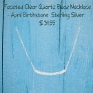 Faceted Clear Quartz Bead Necklace April Birthstone Sterling Silver