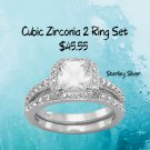 Cubic Zirconia Ring Set Wedding Engagement Two Rings Sterling Silver Size 9-11