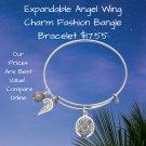 Angel Wing Charm Fashion Bangle Bracelet Expandable