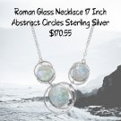 """Sterling Silver 17"""" Abstract Circle Roman Glass Necklace"""