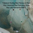 Multistone Necklace Sterling Silver 22.5 Inches