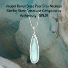Sterling Silver Ancient Roman Glass Pear Drop Necklace