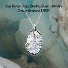 "Sterling Silver 18"" Oval Roman Glass with Wire Design Necklace"