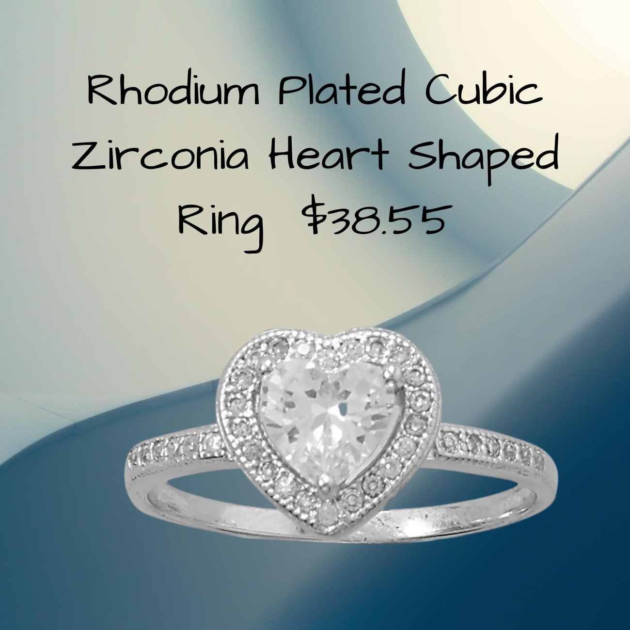 Rhodium Plated Cubic Zirconia Heart Ring