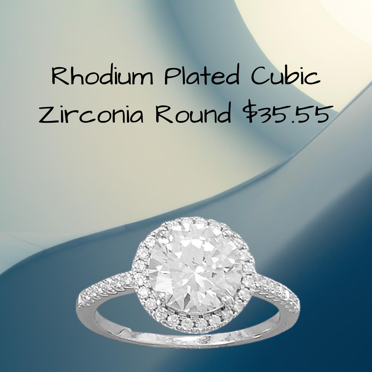 Rhodium Plated Round Cubic Zirconia Ring with CZ Edge
