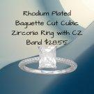 Rhodium Plated Baguette Cut Cubic Zirconia Ring