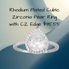 Rhodium Plated Pear Cubic Zirconia Ring with CZ Edge