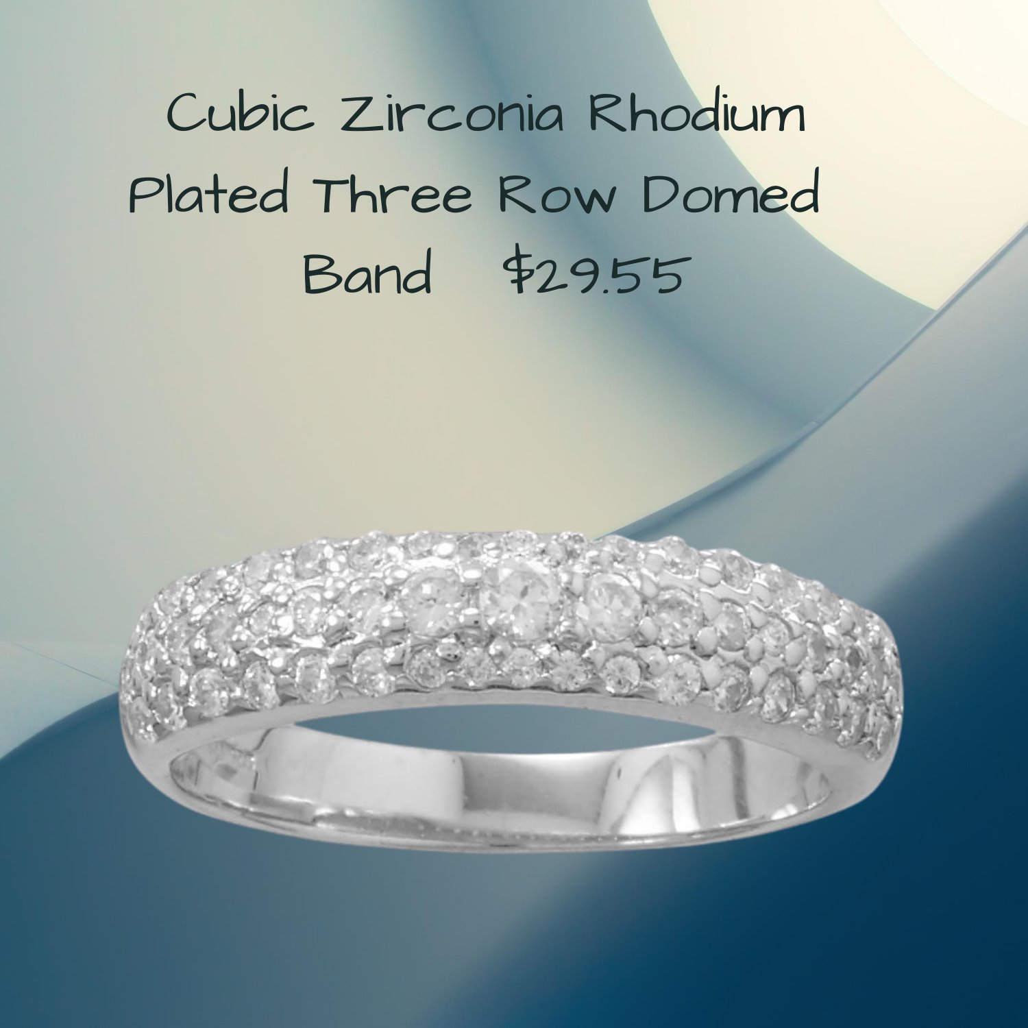 Rhodium Plated Three Row Domed CubicZirconia Ring