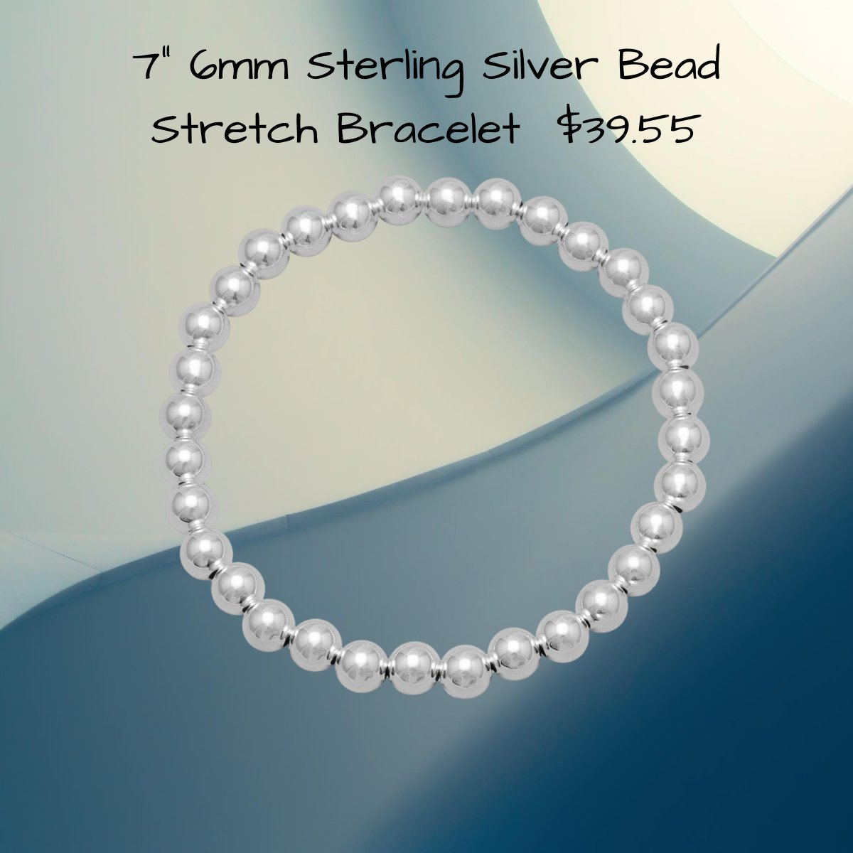 Sterling Silver Bead 7 Inch Stretch Bracelet With 8 mm Beads