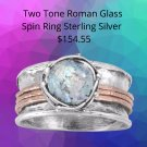 Sterling Silver Two Tone Roman Glass Spin Ring