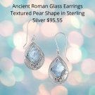 Sterling Silver Textured Pear Ancient Roman Glass Earring