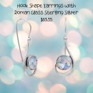 Sterling Silver Hook Shape Earrings with Roman Glass