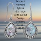 Sterling Silver Ancient Roman Glass Earrings with Bead Design