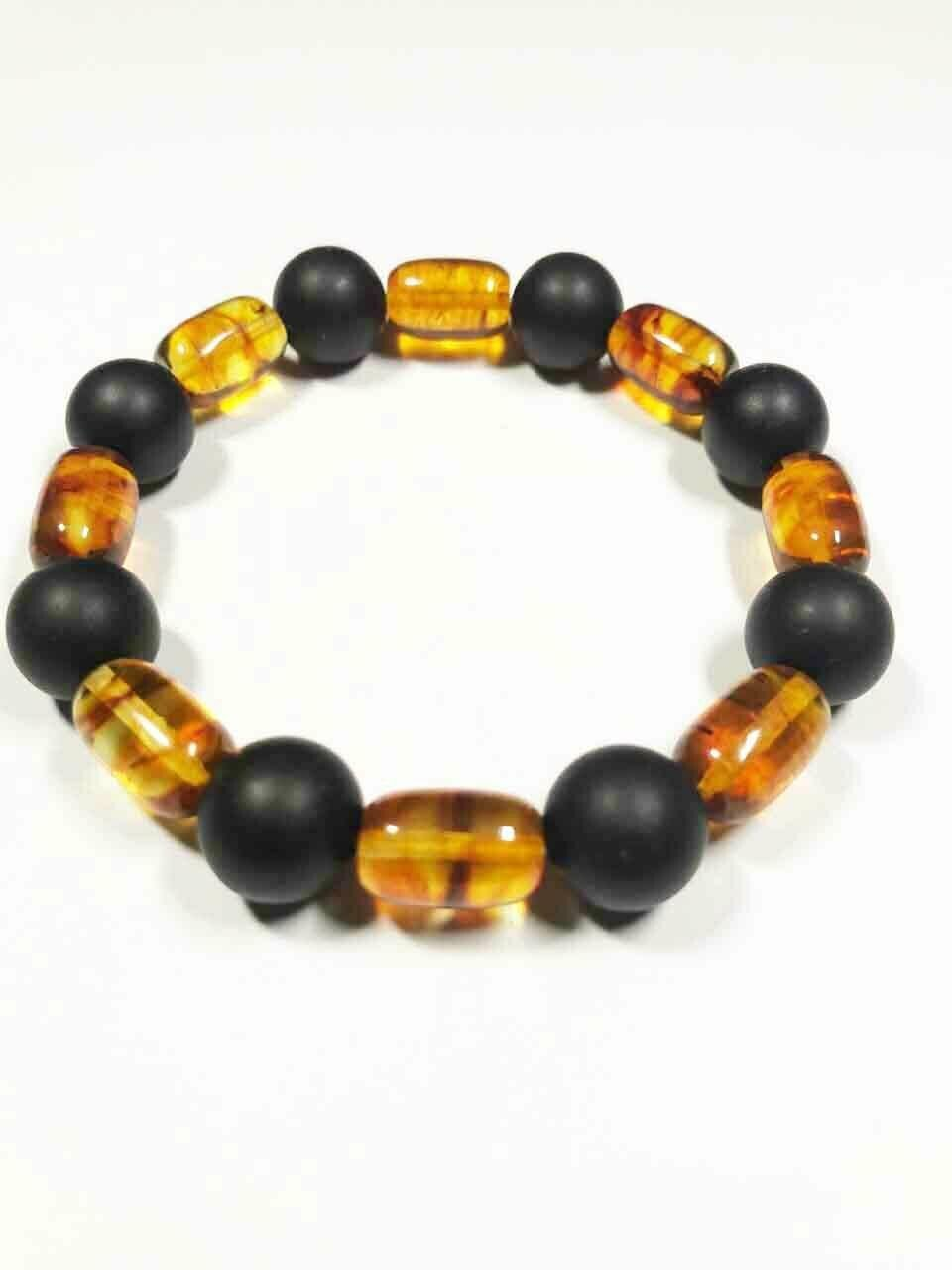 Amber Bracelet Genuine Baltic amber mix colour pressed beads 11.87gr. B-187