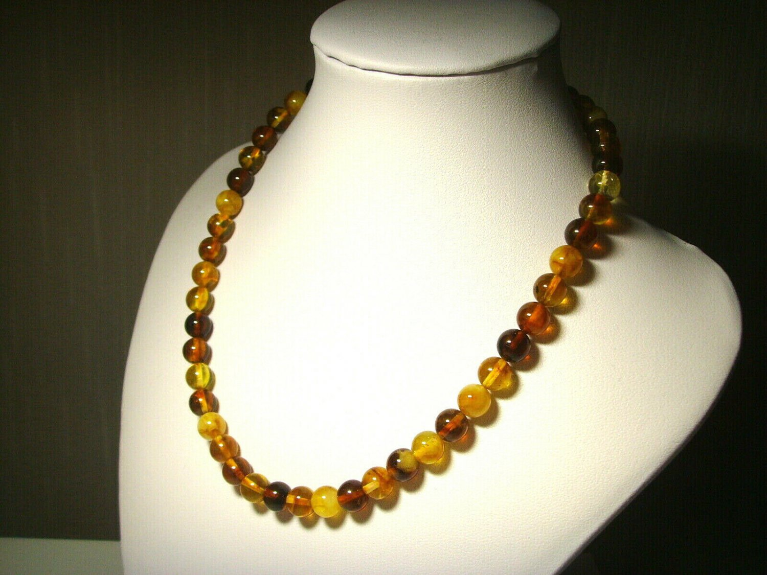 Amber necklace Natural Baltic Amber colorful pressed round beads 14,90gr.B-295