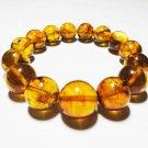 Amber Bracelet Genuine Baltic Amber Pressed beads elastic unisex 19.41gr. B146