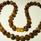 Natural Amber Necklace Natural baltic Amber pressed round beads 28 gr b-34