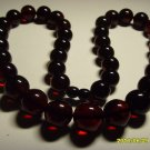 Massive Genuine Baltic Pressed Amber Round Beads dark cherry necklace 50.10 gr