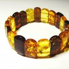 Real Amber bracelet Genuine Baltic Amber colorful beads elastic 14.64gr. A-233