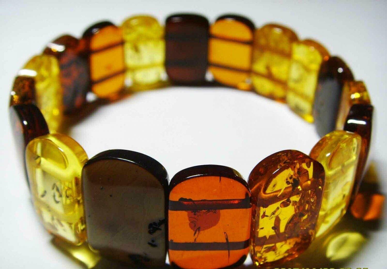 Amber Bracelet Natural baltic Amber colorful beads elastic unisex 15.17gr. A-101