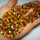 Lot 10 Necklace Natural baltic Amber baroque colorful beads baby 38.33gr.F-161