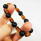 Natural baltic Amber bracelet pressed mixed beads elastic unisex  10.48gr B182