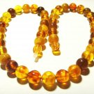 Amber necklace Genuine Baltic Amber colorful pressed round beads  18,93gr.B-710